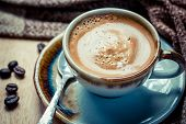picture of hot coffee  - Cup of espresso with coffee beans - JPG