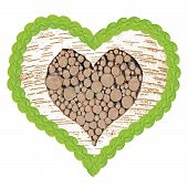 stock photo of linden-tree  - birch tree heart filled with wooden logs and frame of linden leafs - JPG