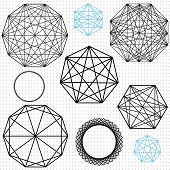 stock photo of dodecahedron  - A set of linear geometric polygon designs - JPG