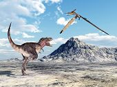 pic of pteranodon  - Computer generated 3D illustration with the Dinosaur Tarbosaurus and the Pterosaur Pteranodon - JPG