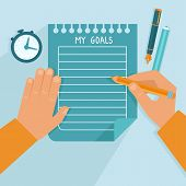 foto of writing  - Vector personal goals list in flat style  - JPG