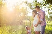 stock photo of joy  - Happy pregnant family having fun in summer nature