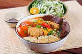 pic of noodles  - Bun Rieu a typical traditional Vietnamese noodle the ingredients are - JPG