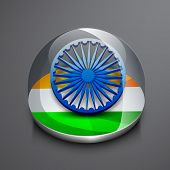 foto of asoka  - Shiny icon with Asoka Wheel and national tricolors on grey background for 15th of August - JPG