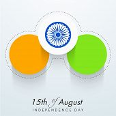 stock photo of asoka  - Stylish stickers in national tricolors with Asoka Wheel on grey background for 15th of August - JPG