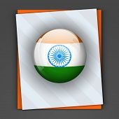 stock photo of indian independence day  - Glossy icon in Indian national flag colors with asoka wheel on grey and saffron color card for 15th of August - JPG