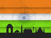 picture of india gate  - Indian monuments silhouette India Gate - JPG