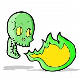 picture of fire-breathing  - cartoon fire breathing skull - JPG