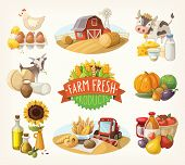 picture of milk products  - Set of illustrations with farm fresh products and animals - JPG