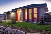 image of in front  - New australian town house front at dusk - JPG