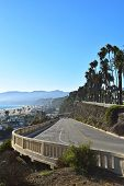 stock photo of pch  - A view of the California Incline that links upper Santa Monica to the lower Pacific Coast Highway.