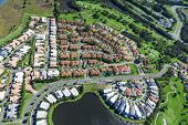 stock photo of middle class  - Aerial view of new luxury australian neighborhood - JPG