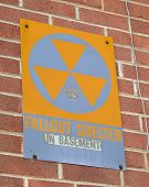 stock photo of icbm  - Civil Defense Fallout Shelter Sign from the Cold War days - JPG