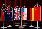 pic of law order  - Decorative Scales of Justice with National flag of different countries concept of International Law and Order - JPG
