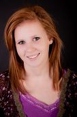 stock photo of red hair  - Beautiful freckled teen girl smiling with red hair - JPG