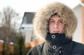 Winter Time - Man In Warm Jacket With Furry Hood poster