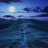picture of full_moon  - small lake near mountain curve path on a Green Hill at night in full moon light - JPG