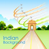 picture of india gate  - illustration of airplane making Indian tricolor flag around India Gate - JPG