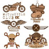 picture of art gothic  - illustration of vintage motorcycle design element with skull - JPG