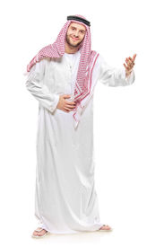 stock photo of arab man  - An arab person welcoming isolated on white background - JPG
