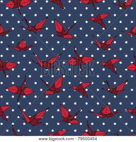 Navy and red crane origami seamless vector pattern