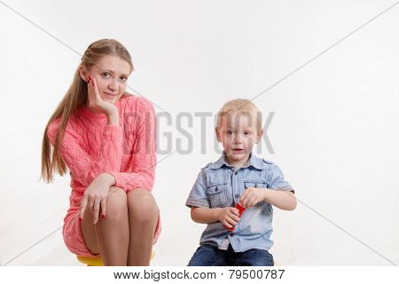 Mom And Son Blow Bubbles