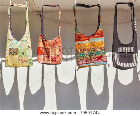 Handmade bags on sale for tourists in Udaipur, Rajasthan. Udaipur is one of major tourist destinations