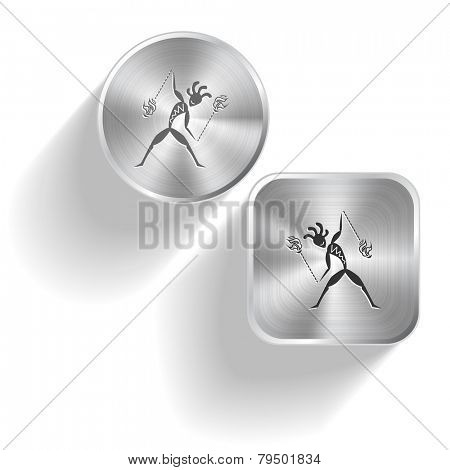 Ethnic little man with fire poi. Vector set steel buttons