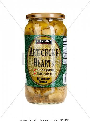 Hayward, CA - January 5, 2015: 33 oz jar of Kirkland brand Artichoke Hearts