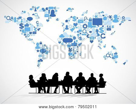 Business meeting with World Social Media Map
