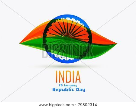 vector indian republic day design celebrated on 26 january made in leaf style with tricolor and wheel