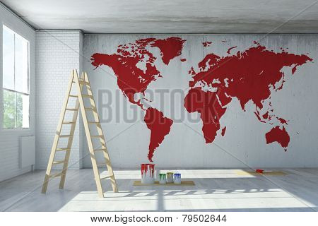 Big red world map painted on a wall in a room (3D Rendering)