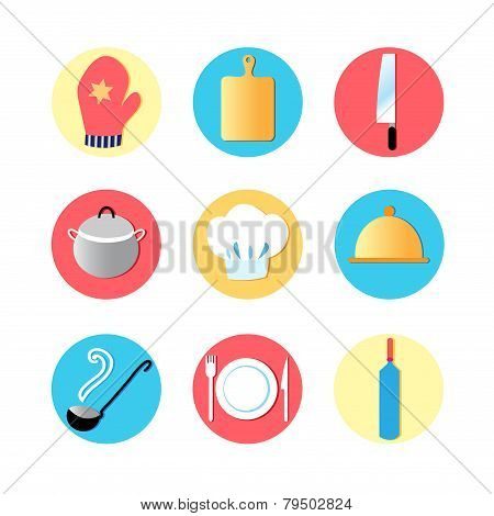 Kitchen Utensils And Kitchen Flat Icons