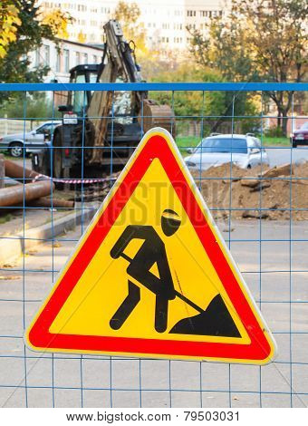 Roadworks Red And Yellow Triangle Sign