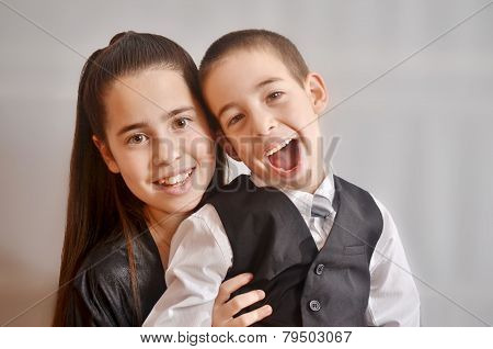 Bat Mitzvah Girl With Her Brother