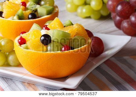 Grapes, Currants, Pears, Kiwi In Hollowed-out Oranges