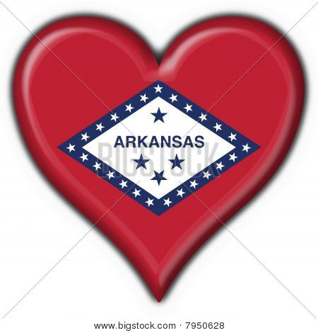 Arkansas (usa State) Button Flag Heart Shape