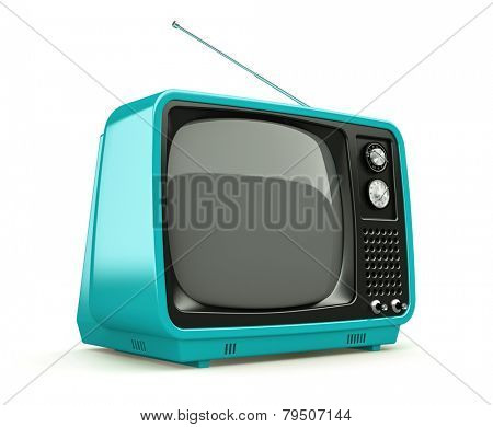 Blue retro TV isolated on white background