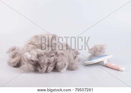 Raw wool yarn coiled into a ball