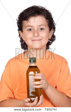 Nice Child With Olive Oil Bottle