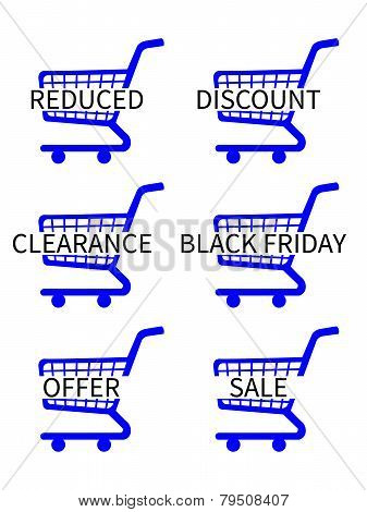 Blue Shopping Cart Icons With Sale Texts