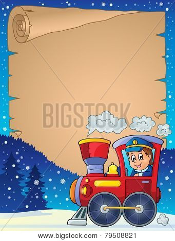 Winter parchment with locomotive - eps10 vector illustration.