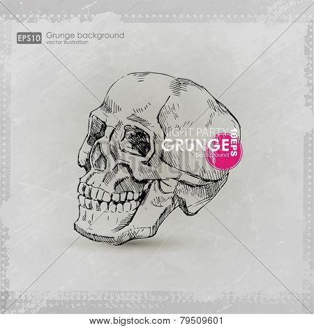 grunge print for t-shirt skull