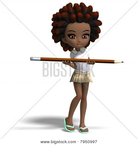 Stock photo : cute little cartoon school girl with curly hair