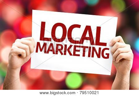 Local Marketing card with colorful background with defocused lights