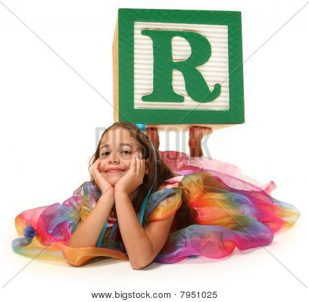 Girl With Alphabet Block Letter R