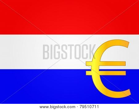 Euro Currency Sign Over The Dutch Flag