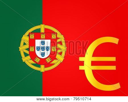 Euro Currency Sign Over The Portuguese Flag