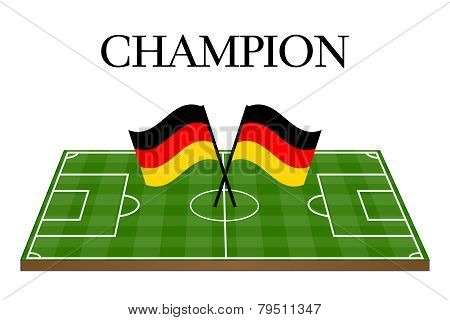 Football Champion Field With German Flag