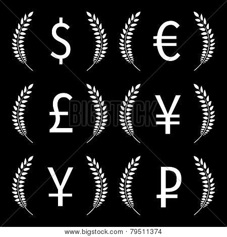 Currencies Laurels Black And White